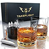 Whiskey Glasses and Whiskey Bullets - Premium Whiskey Glass Set, 2 Glasses for Scotch or Bourbon in Gift Box | Stainless Steel Whisky Stones Shaped Like Bullets | Bar Set for Man Cave (Ornate Glasses)