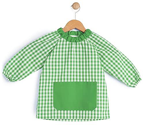 BeBright Babi Escolar Infantil sin Botones, Bata Escolar Niña y Niño, Mandilón de Guardería- Fabricado en España (Verde Botella, 1-2 Años)
