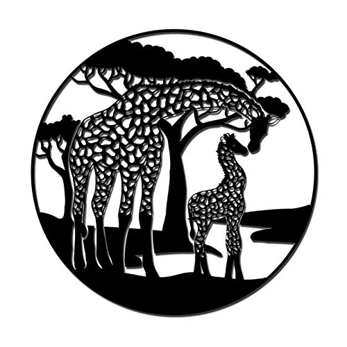 African Animal Metal Wall Art Decor Giraffe Mommy Kiss Baby Beside Trees Wall Hanging Sculpture Willife Black Wall Decals Works for Bedroom Living Room Indoor Outdoor Decorations