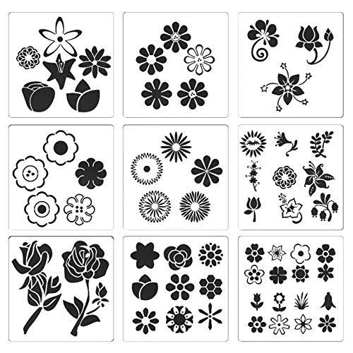 Heiqlay Malschablonen Zeichenschablonen Schablonen Set, Sprühschablonen Schablonen Blumen Zeichenhilfen für Studenten, Dekoration der Blumenserie, 13x13 Cm, 9 Stück