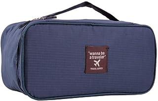 حقيبة تخزين منظم سفر مضادة للماء لحمل حمالات الصدر والملابس الداخلية وأدوات التجميل وما إلى ذلك. (أزرق داكن)