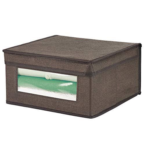 mDesign Caja de tela apilable – Caja con tapa tamaño mediano con ventana transparente para organizar prendas o sábanas – Ideal como organizador de juguetes o caja para guardar ropa – marrón claro