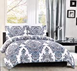 Cynthia Rowley Bedding 3 Piece King Size Duvet Comforter Cover Set Intricate Floral Paisley Medallion Pattern in Shades of Blue and Red on White - Nellie