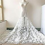 Tessuto 3D floreale da sposa in pizzo fiore fiore fiore pizzo tulle fiore ricamato pizzo pizzo garza abito da ballo 59 pollici 1 yard Bianco sporco