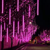 ZHEWEN Outdoor Halloween String Lights Meteor Shower Rain Light Falling Raindrop Light Plug Powered 8 Tubes 192 LED Cascading Fairy Light for Christmas Tree Garden Wedding Party Decor (Purple)