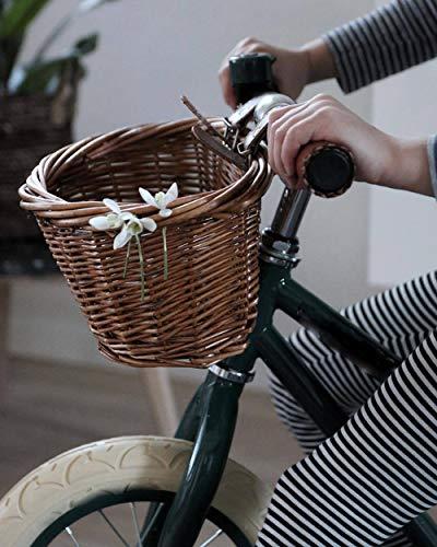 HB.YE Cesta de Bicicleta de Mimbre para Niños Hecha a Mano con Correas de Cuero, Delantera Bolsas de Almacenaje para El Regalo de Cumpleaños