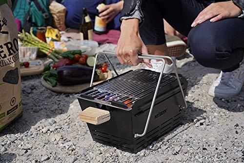51OtLM2YlqL - knister Grill Original - Mobiler Holzkohlegrill für Picknick, Camping und Outdoor, Schwarz