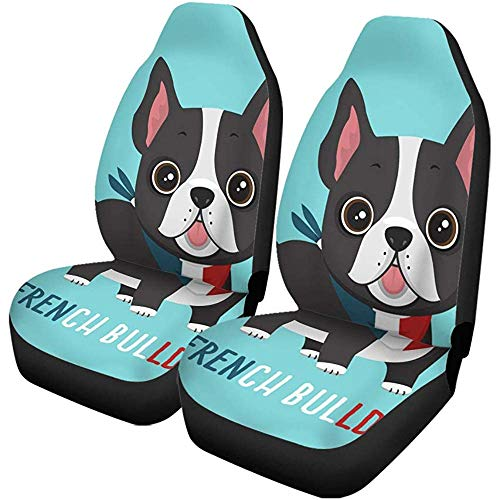 Beth-D autostoelhoezen voor honden, puppy's, Franse bulldog, in de kleuren van de bandage, set met 2 beschermhoezen, automatische accessoires