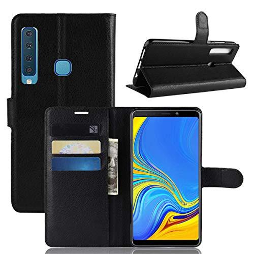 """Capa Capinha Carteira Case 360 Para Samsung Galaxy A9 2018 De Tela 6.3"""" Couro Sintético Flip Wallet Para Cartão - Danet (Preto)"""