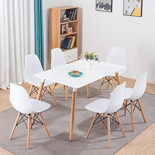 Volitation Wood Dining Table and Chairs Set 6 Modern Kitchen Furniture Table Set Lounge Table for Office, White (120cm x 80cm)