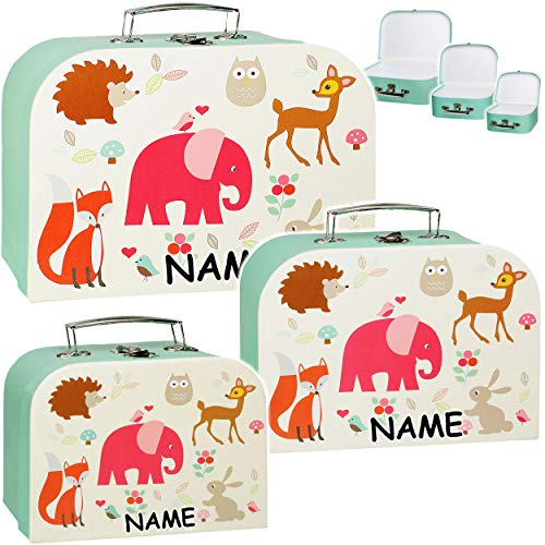 alles-meine.de GmbH 3 Stück _ Koffer / Kinderkoffer - in 3 verschiedenen Größen - Tiere - Zootiere & Waldtiere - Elefant / Eule / REH / Fuchs - incl. Name -...