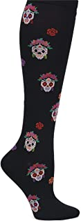 Nurse Mates Graduated Support Compression Trouser Socks (Sugar Skulls)