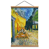 HW Hongwu Hanging Poster Wall Art - Cafe Terrace at Night by Van Gogh Oil Paintings Reproduction Linen Canvas Prints Cityscape Picture with Scroll Teak Wood Hanger for Wall Decor16x24inch