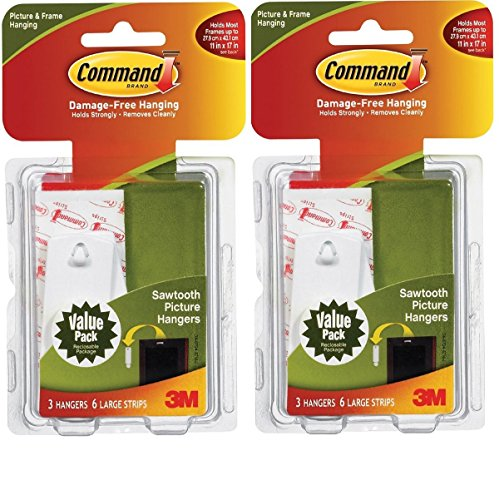 Command Sawtooth Picture-Hanging Hooks, 6-Hanger