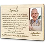 Memorial Gift for Loss of Uncle| Uncle Memorial Canvas| Personalized Sympathy Canvas for Loss Uncle| In Loving Memory of Uncle in Heaven Remembrance Tribute Gift for Deceased Uncle JC569 (16x12 inch)