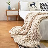 Comtest Chunky Knit Blanket Handmade Cable Knit Blanket Warm Soft Cozy for Bed,Couch&Home Decorate ,Beige 40''x40''(Single Sofa)