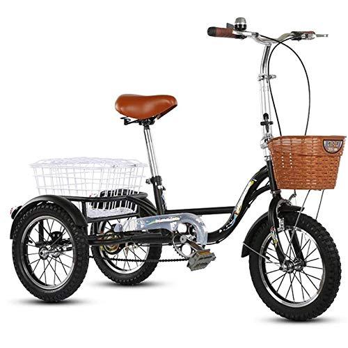 GTD-RISE Triciclo Adulto Tricycle Adult Bicicleta de Tres Ruedas de Truco de 14 Pulgadas de Tres Ruedas con Canasta Grande para Hombres Mujeres Mayores Juventud, Altura Ajustable