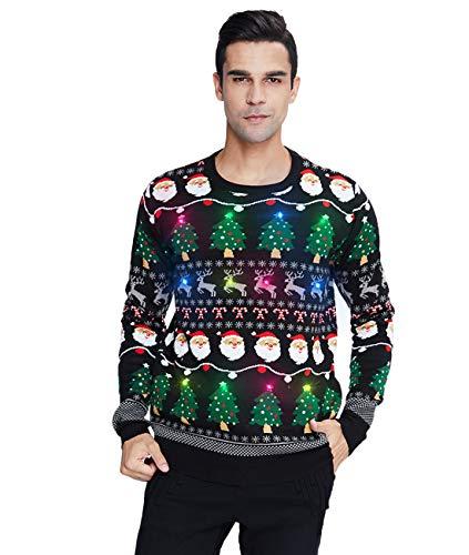 Belovecol Herren Lustige Weihnachtspullover Licht LED Bedruckte Christmas Sweater Weihnachten Pullover Langarm Xmas Strickpullover L