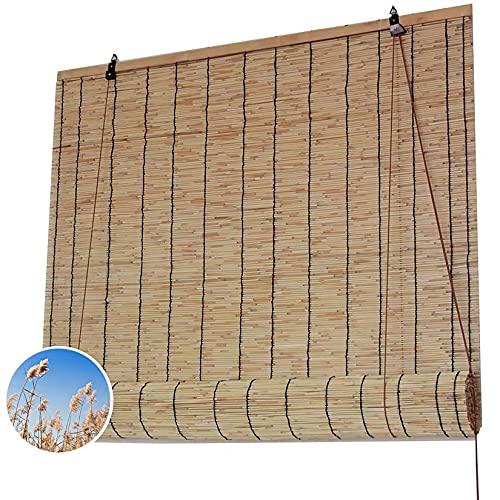 ZXCVASDF Tenda a Rullo Bamboo, Veneziana per Finestre, Avvolgibile Bamboo, Tessuto a Mano, Tenda da Sole, Isolamento Termico, per Esterno, Patio, Porta, Personalizzabile,100x120cm/40x48in