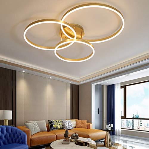 Plafón dorado LED regulable, lámpara de techo salón moderna con mando a distancia, creativa iluminación colgante dormitorio comedor cocina sala de estudio, redondo pantalla acrílica, Ø78 * 50cm, 65W