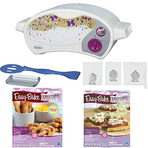 Easy Bake Ultimate Oven Deluxe Gift Set, White. Bundle of Oven and Pizza and Pretzel Mixes (Bundle of 3 Items)