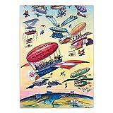 Mxibun Cartel De Viaje Vintage Ilustración De Dibujos Animados Apertura Del Canal De Panamá Avión De Globo De Aire Cuadro De Arte De Pared Antiguo Impresión De Lienzo-50X70Cmx1 Sin Marco