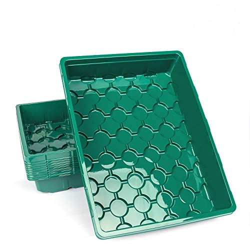 10-Pack Strong Seed Trays, Durable Green Plastic Growing Trays (Without Drain Holes) for Microgreens, Soil Blocks, Wheatgrass, Hydroponic -14.2inch x 10.8inch x 2.6inch - Green