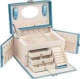 ADEL DREAM - Joyero grande con cerradura, 5 niveles con 5 cajones, con espejo, para anillos, pendientes,...