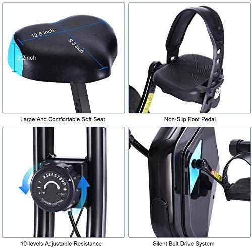 51OtORoCkVL - ANCHEER Bicicleta Estática Plegable Bicicleta de Ejercicio 10 Niveles de Resistencia Magnética, con App, Soporte para Tableta Capacidad de Peso:120kg (Negro (Respaldo+Giro de Cintura))