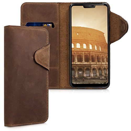 kalibri Hülle kompatibel mit LG G7 ThinQ/Fit/One - Leder Handyhülle - Handy Wallet Hülle Cover in Braun