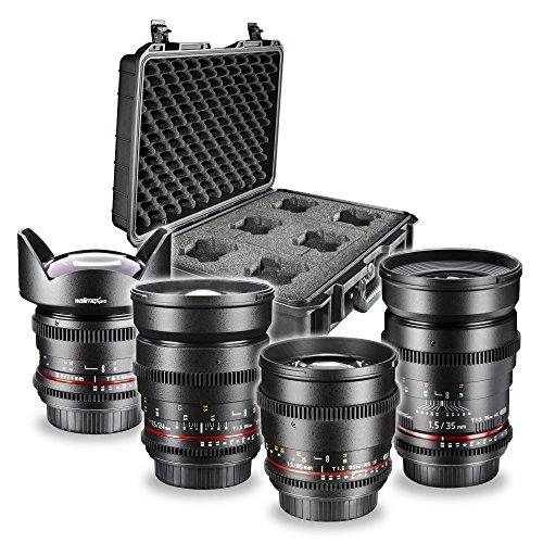 Walimex Pro de vídeo y Fotos Objetivo Juego FF Base Set (35mm, 1: 1,5Objetivo, 85mm 1: 1,5Objetivo Gran Angular, 14mm, 1: 3,1, 24mm 1: 1,5y Objetivos maletín)