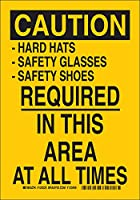 Brady 124227個人用保護具のサイン、凡例「この場所にはハード帽子 - 安全メガネ - 安全靴が必要」、身長14インチ、体重10インチ、黒地に黒