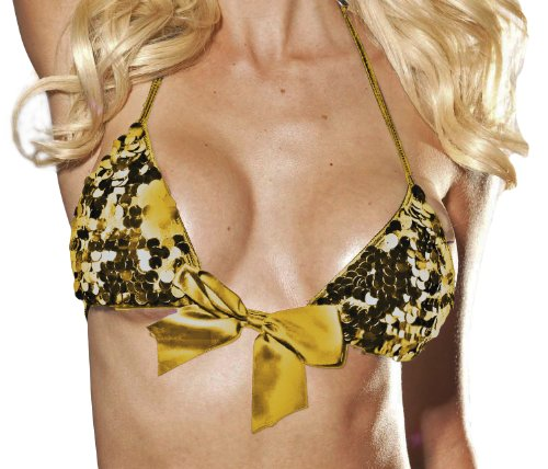 Shirley of Hollywood Women's Sequin Bra top, Gold, One Size