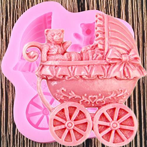 SHEANAON Moldes de Silicona para Carro de bebé, Herramientas de decoración de Pasteles con Fondant de cumpleaños de bebé, moldes de Chocolate y Caramelo de Arcilla polimérica
