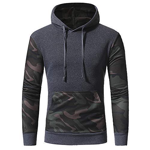 Hombre Primavera y Otoño Ocio Deportes Fitness Running Transpirable Caliente Manga Larga Camisa Sudadera Con Capucha Costura Camuflaje Camiseta Pullover