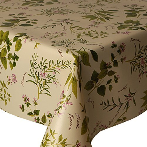 PVC Tablecloth Herb Garden 2 Metres (200cm x 140cm), Rosemary Sage Thyme Flowers, Green Cream Pink, Wipe Clean, Vinyl / Plastic Table Cloth
