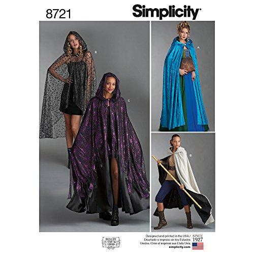 Simplicity Creative Patterns US8721OS Pattern 8721 Misses Capes Kostüme