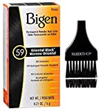 Bigen Hoyu PERMANENT POWDER HAIR COLOR Dye, No Ammonia, No Hydrogen Peroxide Req. (w/Sleek Brush) 0.21 oz / 6 g Haircolor (59 Oriental Black)