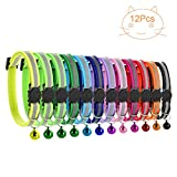 12 PACK Reflective Cat Collars Safety Quick Release Buckle with Bell- Pet Cat Kitten Collar Adjustable 19-32cm