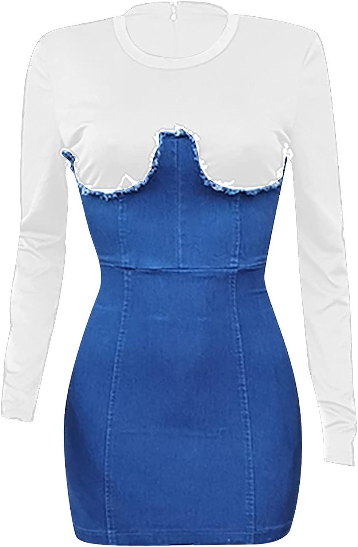 Jean Dresses for Women Denim Summer Wrap Mini Dress Slim Short Sleeve Tops Fake Two Piece Frayed Fashion Curvy Dress