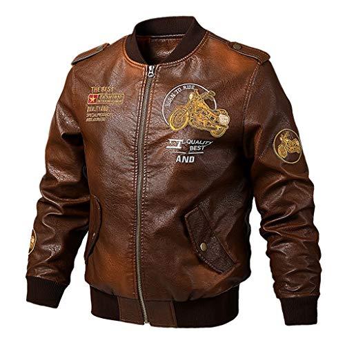 Lederjacke Herren Reißverschluss Retro Biker Bomberjacke Mantel Outwear Mode lässig Motorrad Lederjacke Casual Leder Jacke Lässig Große...