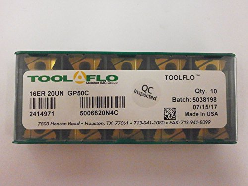 RISHET TOOLS 13688 TNMC 32NV C5 Uncoated Bright Finish Threading Carbide Inserts Pack of 10