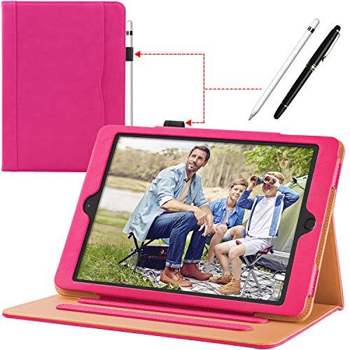 Custodia Pelle iPad 9.7 2018/2017 (6 TH / 5 TH Generation), Cuoio Premium Affari Sottile Cover Case Apple Pencil Portapenne Angolazioni Multiple Auto Wake/Sleep, Anche per iPad Air 2 / iPad Air, Pink