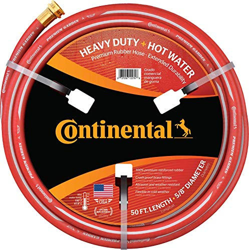 Continental ContiTech-20582672 Premium Garden, Red Heavy Duty Hot Water Garden Hose, 5/8' ID x 50' Length, MXF GHT
