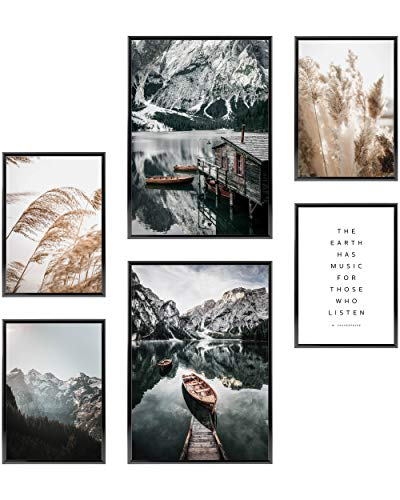 Heimlich® Premium Poster Set OHNE Bilderrahmen | Stilvolles Set mit passenden Bilder als Wohnzimmer Deko | 2 x DIN A3 & 4 x DIN A4 - ca. 30x42 & 21x30 | » Boot Berge Pampas «