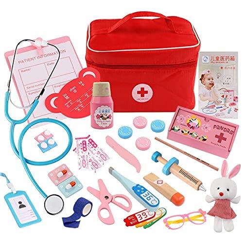 Qtlsgh Doctor de Madera para niños 31 Child Doctor Tool Doctor Juguete 3 Año Viejo rol para niños Juguetes de Aprendizaje