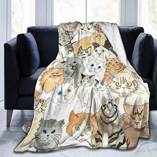 AEMAPE Manta de Tiro con diseño de Gato, Alfombra térmica, Cama de Sala de Estar para Hombres, Lujosa Funda de Alfombrilla para otoño, 60 'x 50'