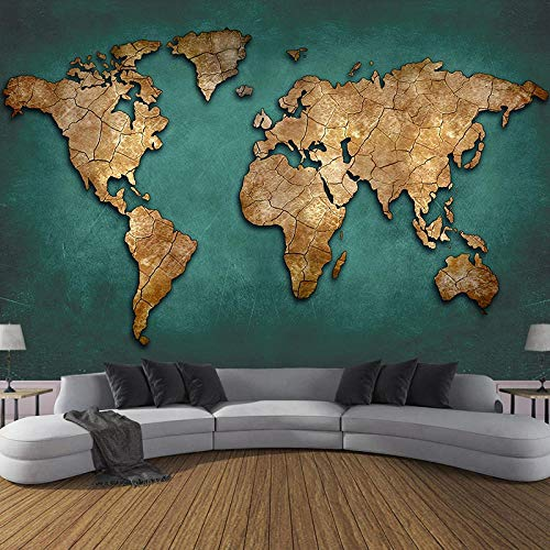 RTYUIHN Mural Retro Nostalgic 3D Relief World map Photo Wall Painting Bedroom Study Restaurant Decoration Wallpaper