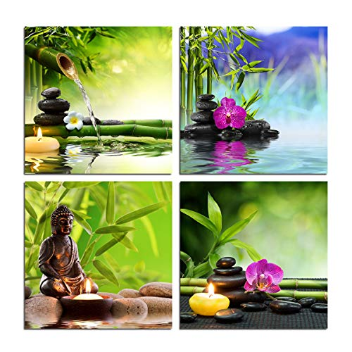 Zen Garden Wall Art Canvas - Spa Green Bamboo leaves Purple Orchid Stones Flower Water Buddha Poster Aromatic Candle Still Life Home Decoration Yoga Modern Decor 4 Pieces Artwork Print Unframed