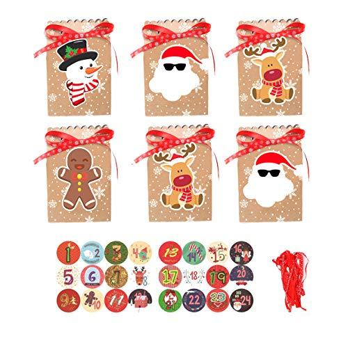 QIMMU 24 Calendario de Adviento Navidad,Navidad Bolsas de Regalo,DIY Calendario de Adviento Navidad,Bolsas de Papel...